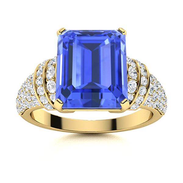 Natural 3.26 CTW Ceylon Sapphire & Diamond Engagement Ring 14K Yellow Gold