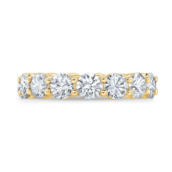 Natural 4.02 CTW Round Brilliant Diamond Eternity Band Wedding Ring 18KT Yellow Gold