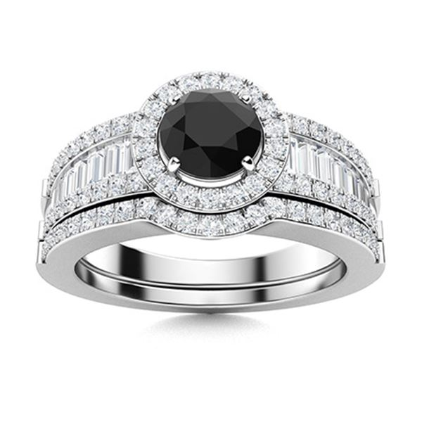 Natural 1.38 CTW Onyx & Diamond Engagement Ring 14K White Gold