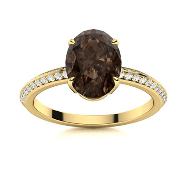 Natural 5.53 CTW Smoky Quartz & Diamond Engagement Ring 14K Yellow Gold