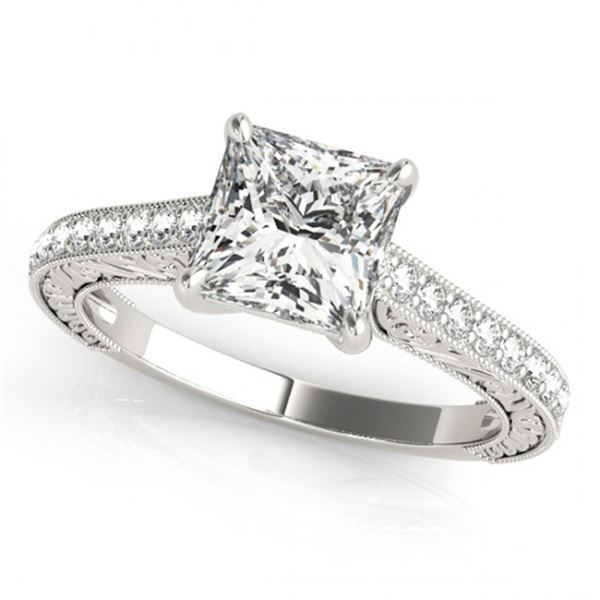 Natural 0.8 ctw Princess Diamond Ring 14k White Gold