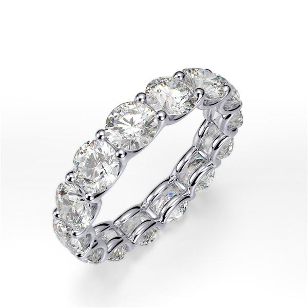 Natural 6.02 CTW Round Brilliant Diamond Eternity Ring 14KT White Gold