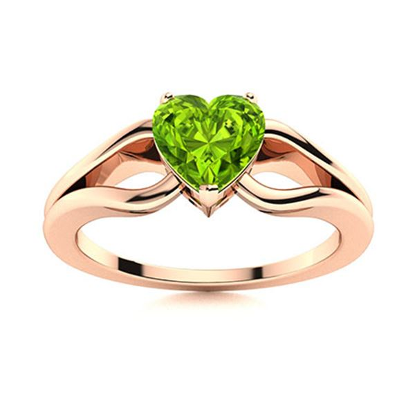 Natural 1.50 CTW Peridot Solitaire Ring 14K Rose Gold