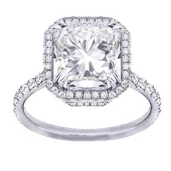 Natural 3.92 CTW Pave Halo Radiant Cut Diamond Ring 14KT White Gold