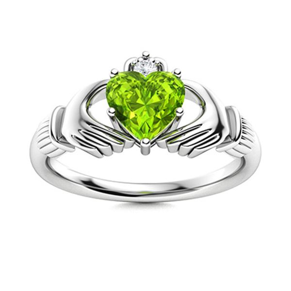 Natural 0.54 CTW Peridot & Diamond Engagement Ring 18K White Gold