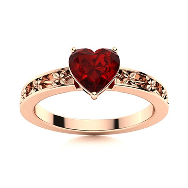 Natural 1.70 CTW Garnet Solitaire Ring 18K Rose Gold