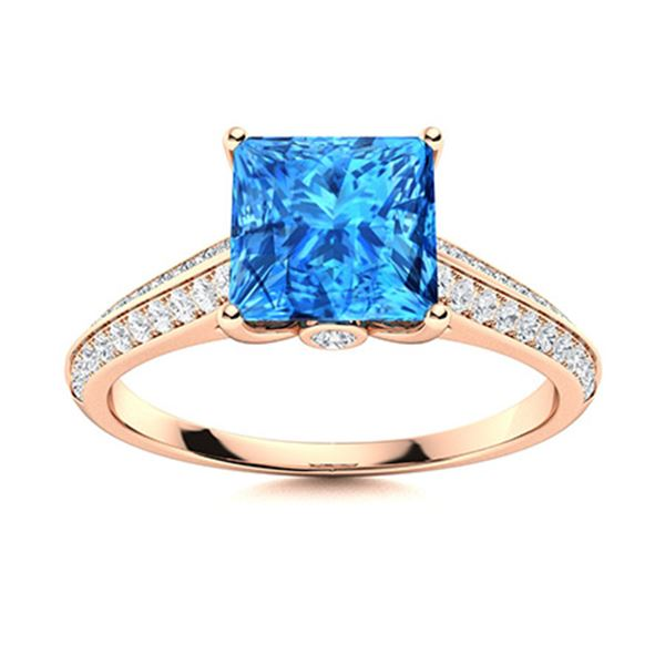 Natural 1.61 CTW Topaz & Diamond  Engagement Ring 14K Rose Gold