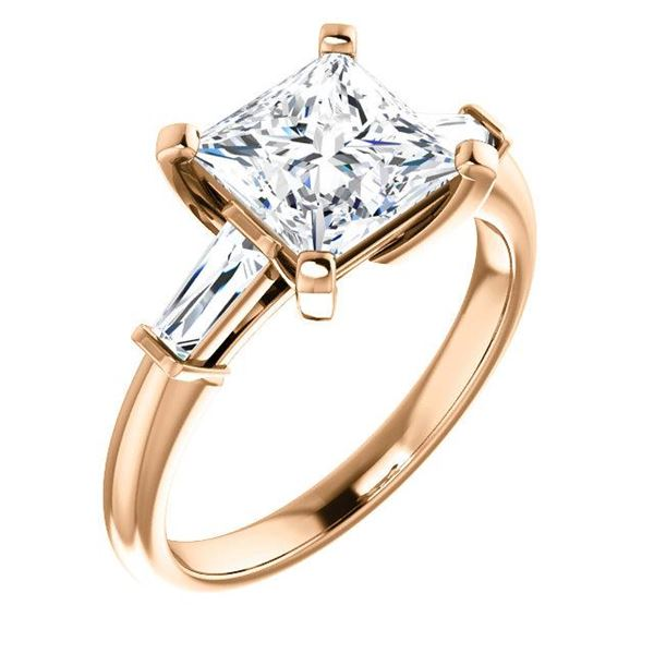 Natural 2.02 CTW Princess Cut & Baguettes 3-Stone Diamond Ring 14KT Rose Gold