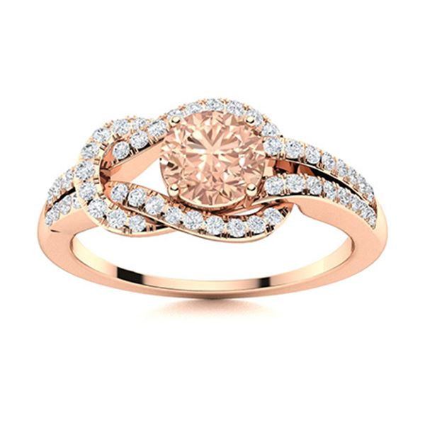 Natural 0.89 CTW Morganite & Diamond Engagement Ring 14K Rose Gold