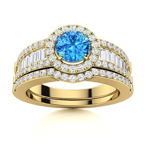 Natural 1.38 CTW Topaz & Diamond Engagement Ring 14K Yellow Gold
