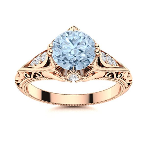 Natural 1.84 CTW Aquamarine & Diamond  Engagement Ring 18K Rose Gold