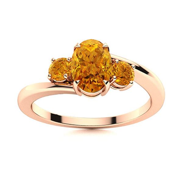 Natural 0.99 CTW Citrine Solitaire Ring 14K Rose Gold
