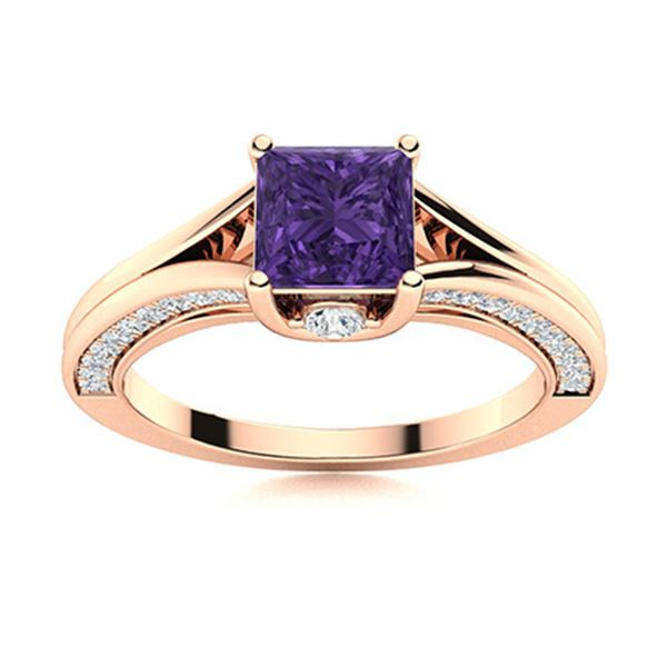 Natural 1.22 CTW Amethyst & Diamond Engagement Ring 14K Rose Gold