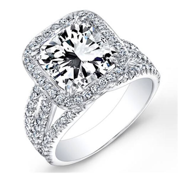 Natural 4.22 CTW Halo Square Radiant Cut Diamond Engagement Ring 18KT White Gold