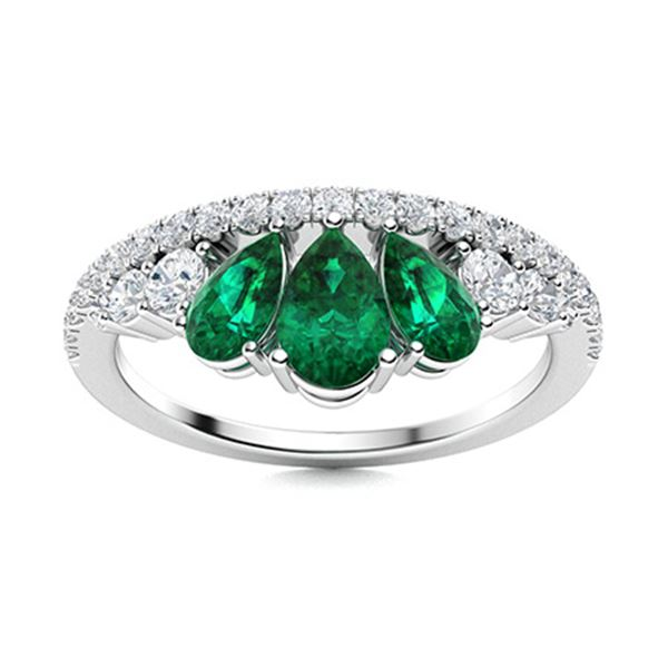 Natural 1.18 CTW Emerald & Diamond Engagement Ring 14K White Gold