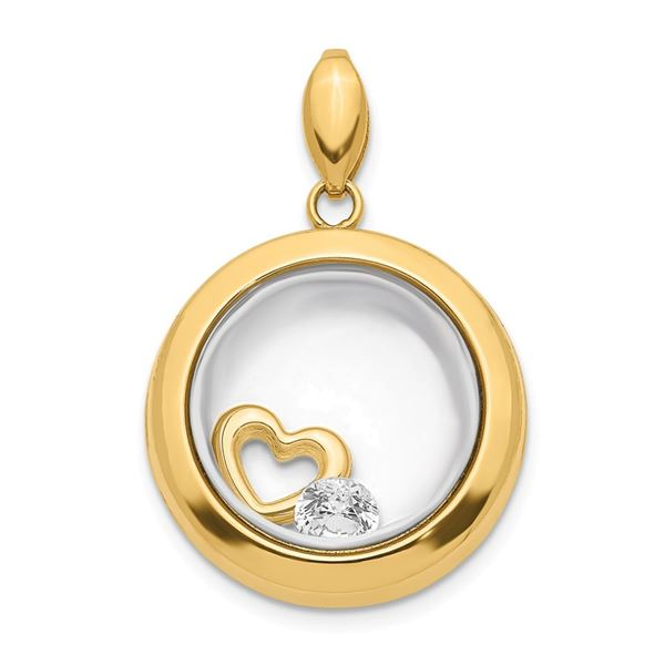 14k Yellow Gold CZ Circle Glass Pendant - 24 mm