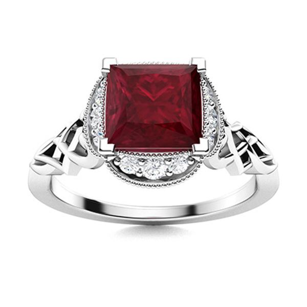 Natural 1.13 CTW Ruby & Diamond Engagement Ring 14K White Gold