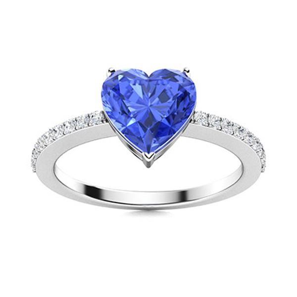Natural 0.84 CTW Ceylon Sapphire & Diamond Engagement Ring 18K White Gold