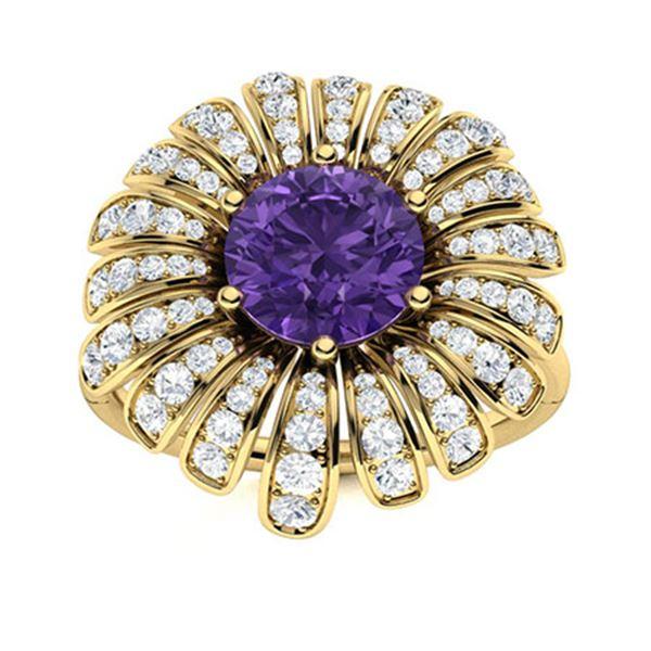Natural 1.70 CTW Amethyst & Diamond Engagement Ring 14K Yellow Gold