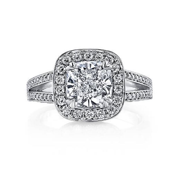 Natural 1.97 CTW Halo Cushion Cut Diamond Micro Pave Engagement Ring 14KT White Gold