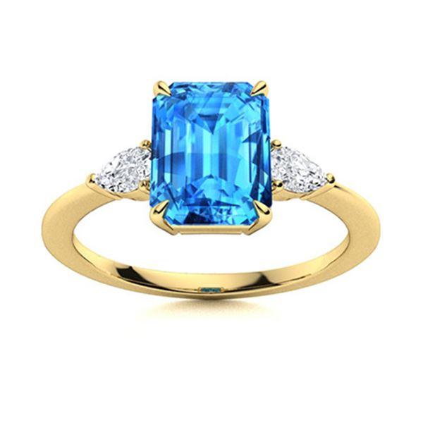 Natural 3.37 CTW Topaz & Diamond  Engagement Ring 18K Yellow Gold