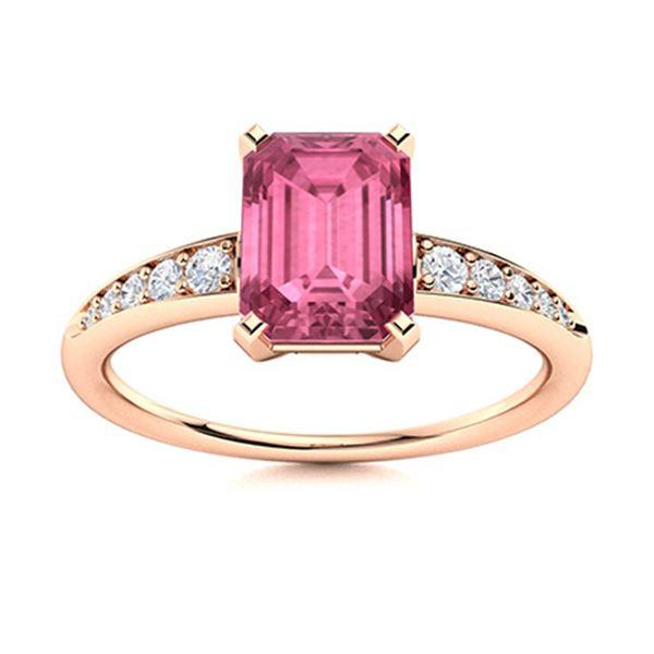 Natural 1.08 CTW Tourmaline & Diamond Engagement Ring 14K Rose Gold