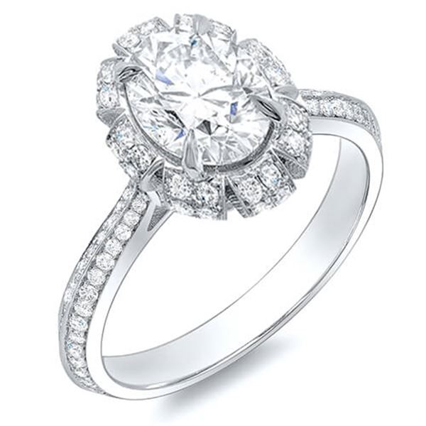 Natural 2.12 CTW Crown Halo Oval Cut Diamond Engagement Ring 18KT White Gold