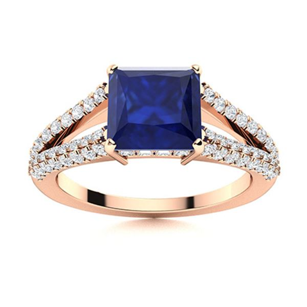 Natural 1.72 CTW Sapphire & Diamond Engagement Ring 14K Rose Gold