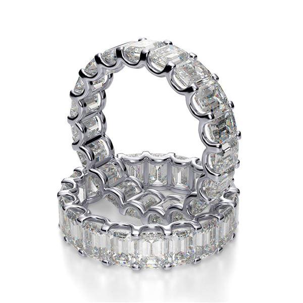 Natural 6.02 CTW U-Setting Emerald Cut Diamond Eternity Ring 14KT White Gold
