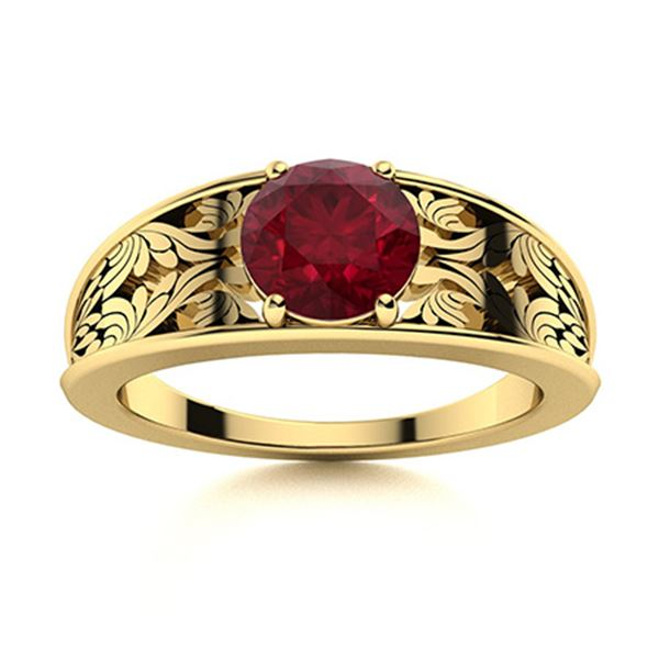 Natural 2.02 CTW Ruby Solitaire Ring 18K Yellow Gold