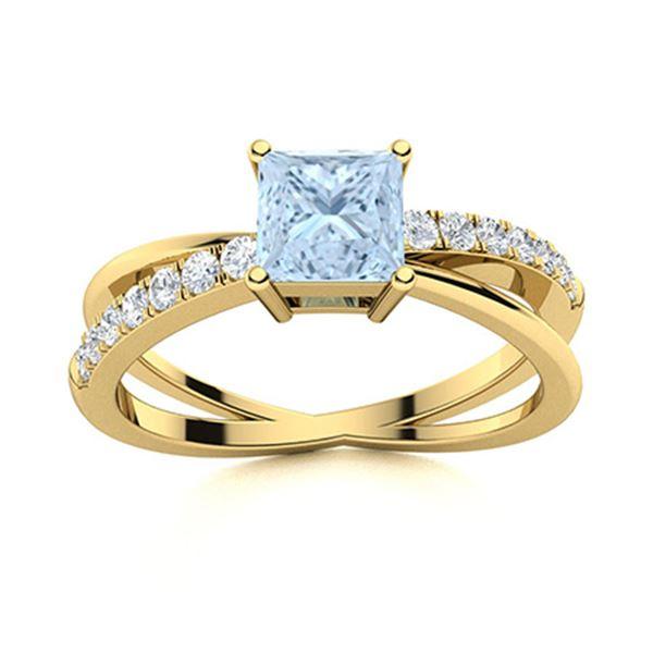 Natural 0.76 CTW Aquamarine & Diamond  Engagement Ring 18K Yellow Gold