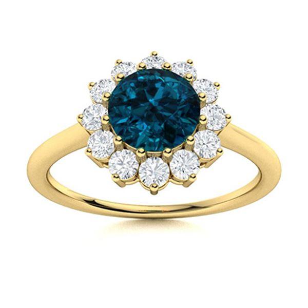 Natural 1.08 CTW Topaz & Diamond Engagement Ring 18K Yellow Gold