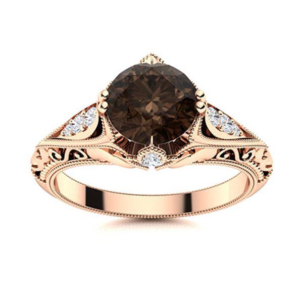 Natural 0.83 CTW Smoky Quartz & Diamond Engagement Ring 14K Rose Gold