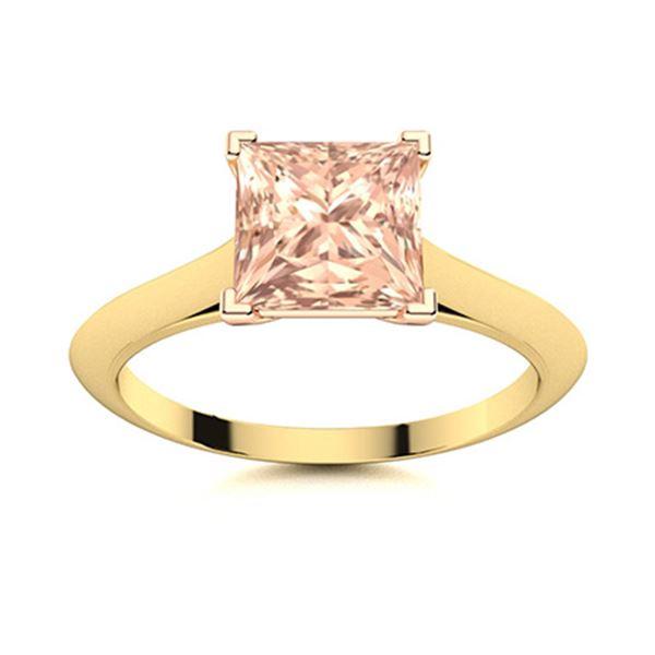 Natural 0.81 CTW Morganite Solitaire Ring 14K Yellow Gold