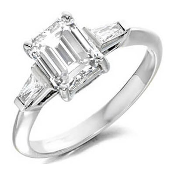 Natural 1.82 CTW Emerald Cut & Baguettes 3-Stone Diamond Ring 14KT White Gold