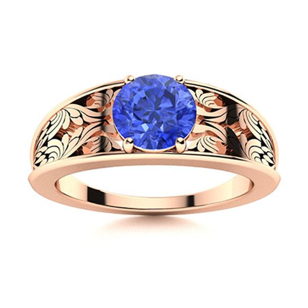 Natural 1.32 CTW Ceylon Sapphire Solitaire Ring 18K Rose Gold