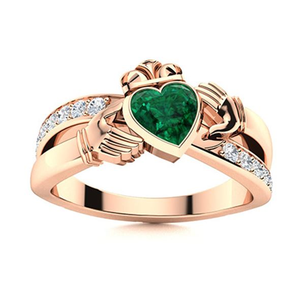 Natural 0.76 CTW Emerald & Diamond Engagement Ring 14K Rose Gold
