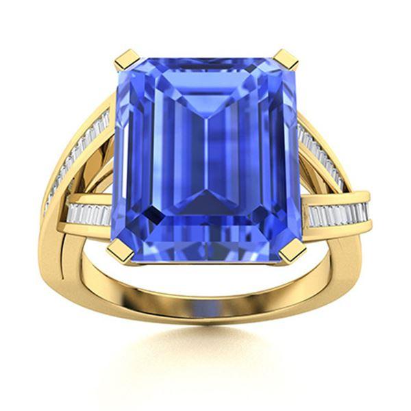 Natural 6.72 CTW Ceylon Sapphire & Diamond Engagement Ring 18K Yellow Gold