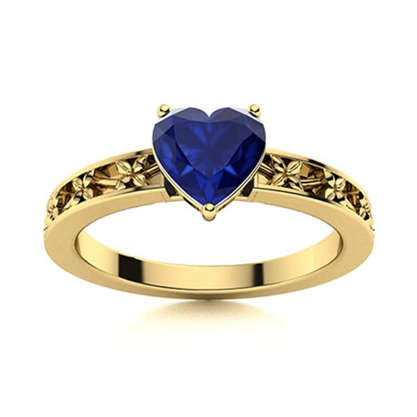 Natural 0.58 CTW Sapphire Solitaire Ring 14K Yellow Gold
