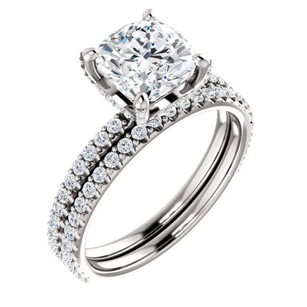 Natural 3.42 CTW Halo Cushion Cut Diamond Ring 14KT White Gold