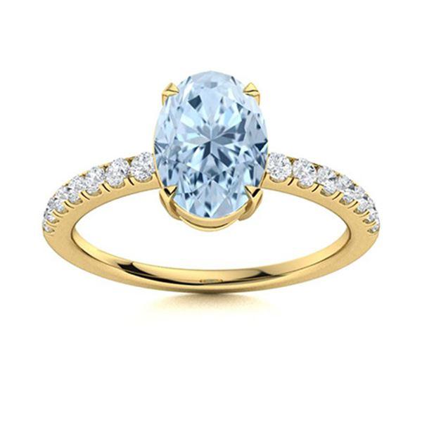 Natural 1.81 CTW Aquamarine & Diamond  Engagement Ring 18K Yellow Gold