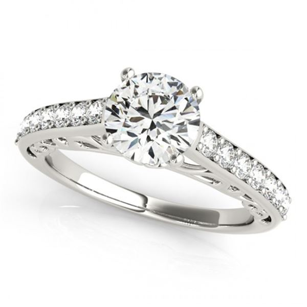 Natural 1.4 ctw Diamond Solitaire Ring 14k White Gold