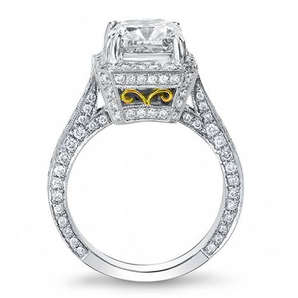 Natural 3.32 CTW Princess Cut Halo Pave Diamond Engagement Ring 14KT Two Tone