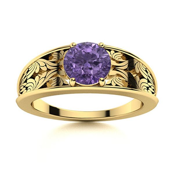 Natural 1.21 CTW Iolite Solitaire Ring 14K Yellow Gold