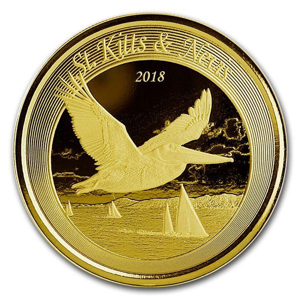 2018 St. Kitts & Nevis 1 oz Gold Pelican BU