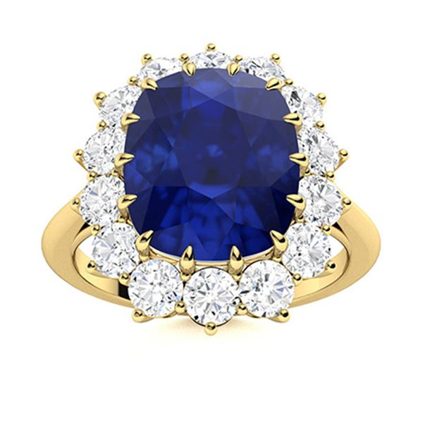 Natural 4.87 CTW Sapphire & Diamond Engagement Ring 14K Yellow Gold