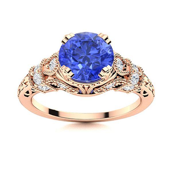 Natural 1.96 CTW Ceylon Sapphire & Diamond Engagement Ring 18K Rose Gold