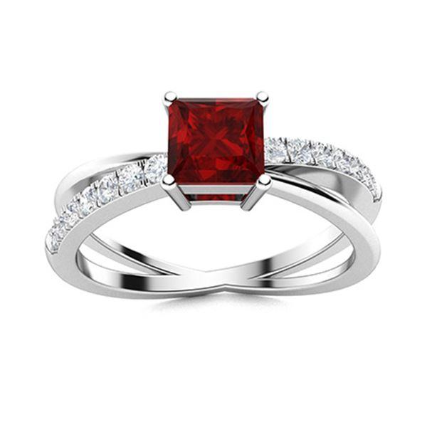 Natural 1.12 CTW Garnet & Diamond Engagement Ring 18K White Gold