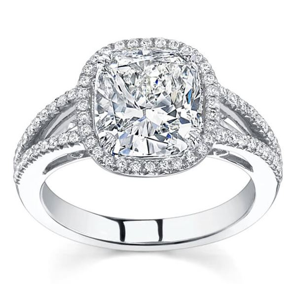 Natural 2.66 CTW Cushion Cut w/ Halo of Round Cut Diamond Engagement Ring 14KT White Gold
