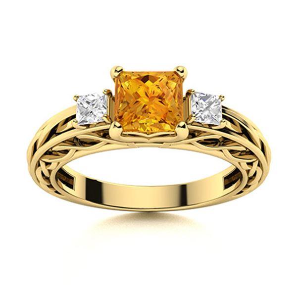 Natural 0.91 CTW Citrine & Diamond Engagement Ring 18K Yellow Gold